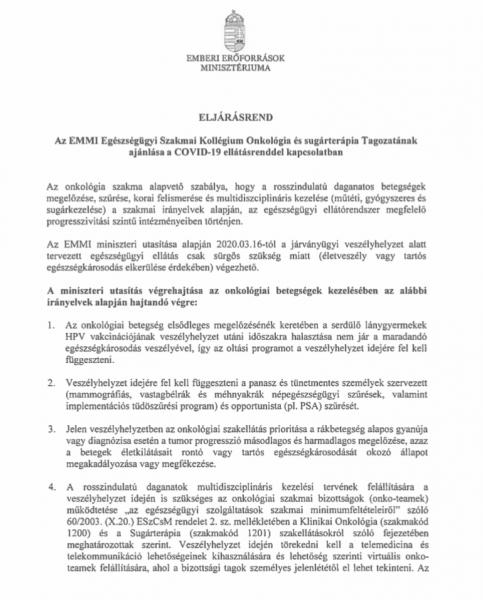 hpv kezelési irányelvek 2020