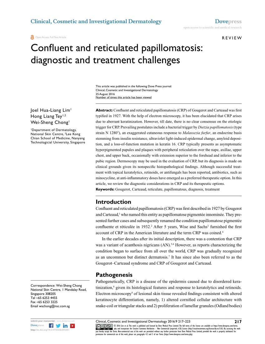összefolyó papillomatosis set reticularis)
